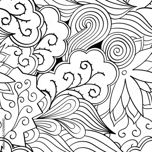 Foto op Canvas Klassieke abstractie Tracery seamless calming pattern. Mehndi design. Ethnic monochrome binary doodle texture. Curved doodling black and white background. Vector.
