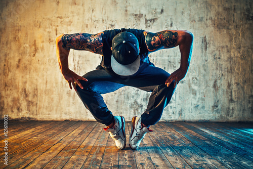 Young man break dancing Wallpaper Mural