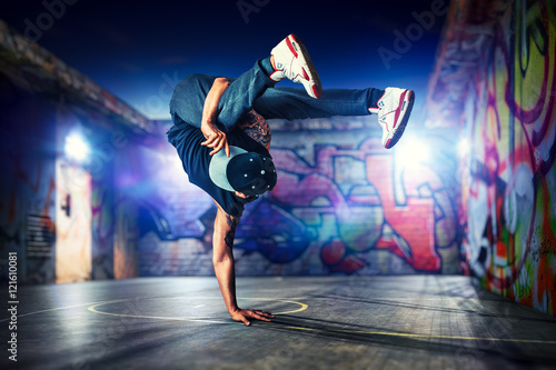 Break dancing outdoors