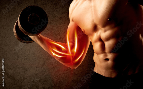 Fototapeta Fit bodybuilder lifting weight with red muscle concept obraz