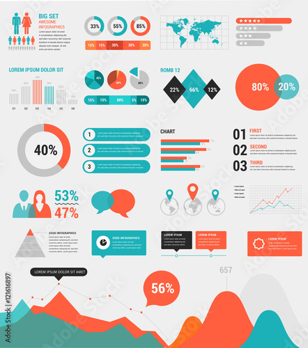 Photo  Big set of infographic elements with charts and diagrams