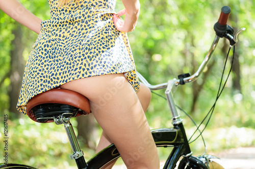 Foto op Aluminium Fiets Woman on a bike