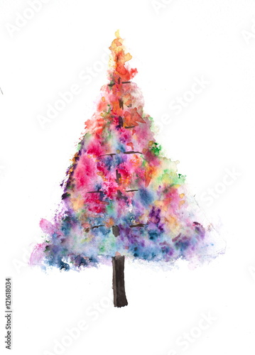 fototapeta na lodówkę Colorful Christmas tree on white, watercolor painting