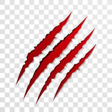 Claw Scratch Mark. Torn Scrape Trace Of Beast