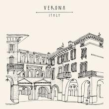 Verona, Italy. Hand Drawn Vint...