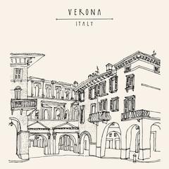 Verona, Italy. Hand drawn vintage postcard