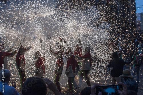 Correfoc or Diables in Santa Tecla festivity, Tarragona, Catalun
