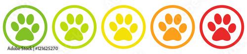 Foto Tier Pfoten Bewertung System Buttons von grün bis rot