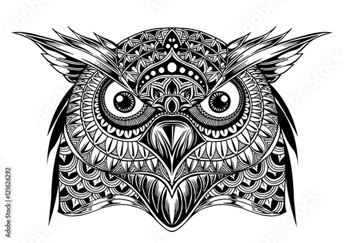 Vector Hand Drawn Owl Face Black And White Zentangle Art Ethni