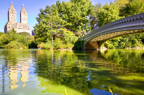 New York City Central Park with Bow Bridge and The Lake Fototapeta