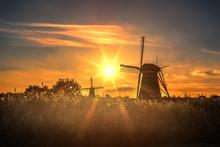 Beautiful Sunset Over Kinderdijk Windmill, Unesco World Heritage Monument, Alblasserdam, Netherlands