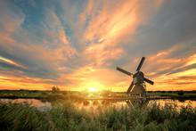 Kinderdijk Windmill Sunset