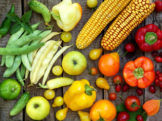 green, yellow, red fruits and vegetables