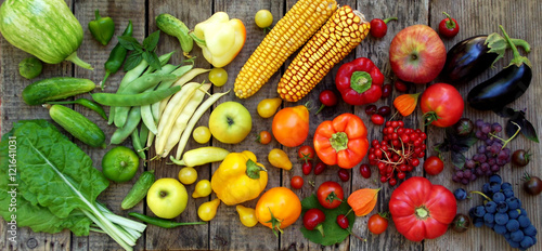 Staande foto Keuken green, yellow, red, purple fruits and vegetables