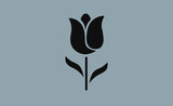 Vector tulip icon on flat background