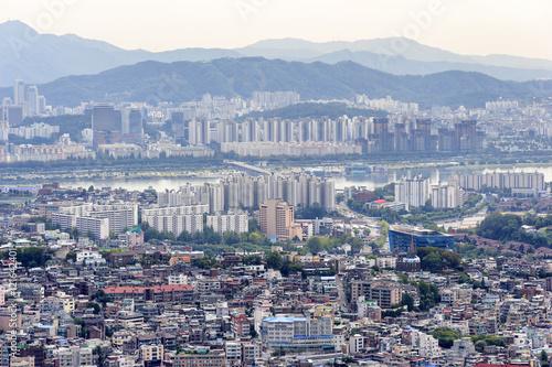 Zdjęcie XXL Seul City Skyline, widok z Korei Południowej.