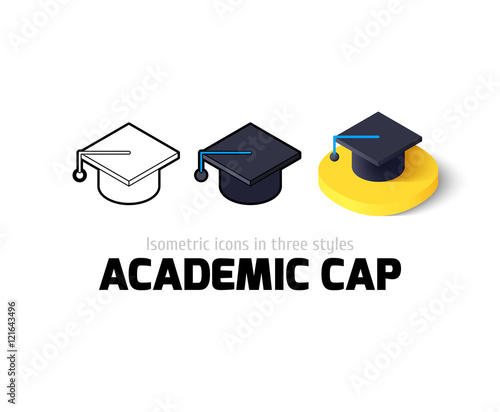 Photo Academic cap icon in different style