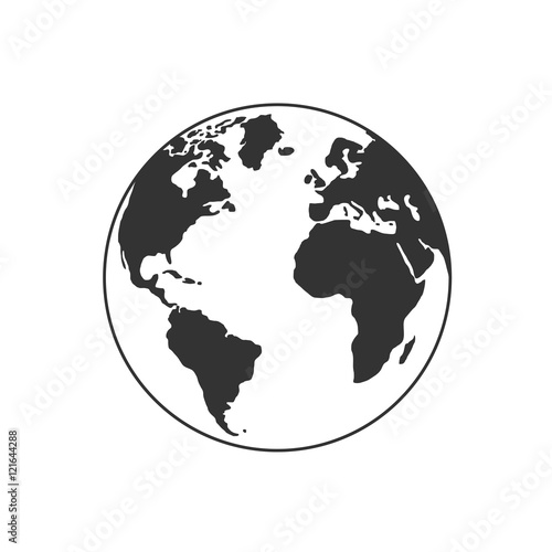 Vector globe icon of the world Wall mural