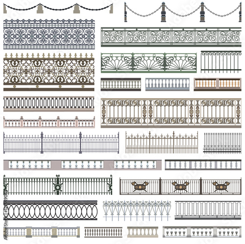 collection of fence patterns and decorative design elements with seamless border Wallpaper Mural