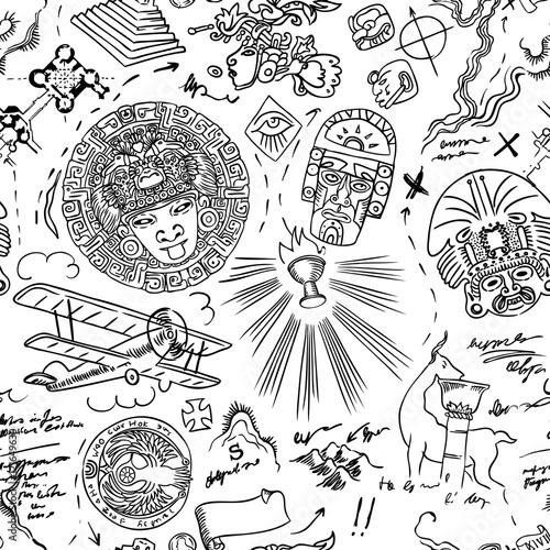 Fototapeta mapa indiańskich symboli