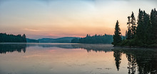 Lake Sunrise In Parc De La Mauricie Quebec Panorama