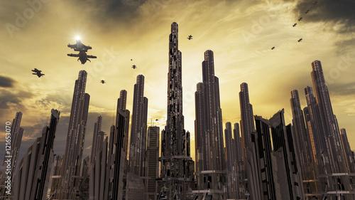 Photo  Spaceship and futuristic city