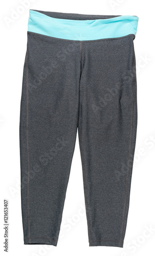 Valokuvatapetti Blue and gray women's athletic pants on white