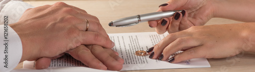 Leinwand Poster Wife and husband signing divorce documents or premarital agreement