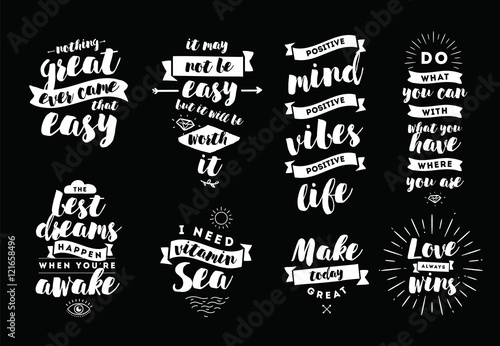 Poster Positive Typography Inspirational quotes set.