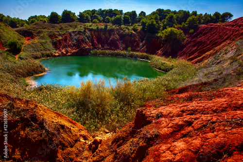 Bauxite Quarry with Lake at Otranto, Apulia Canvas Print