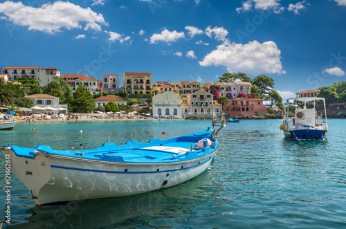 Photo Stands Pale violet Assos on the Island of Kefalonia in Greece. View of beautiful bay of Assos village, Kefalonia island, Greece