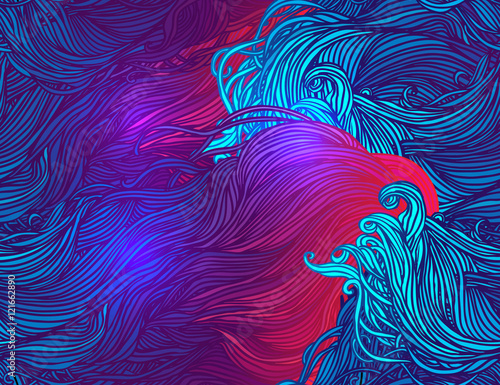plakat Vector color abstract hand-drawn seamless pattern
