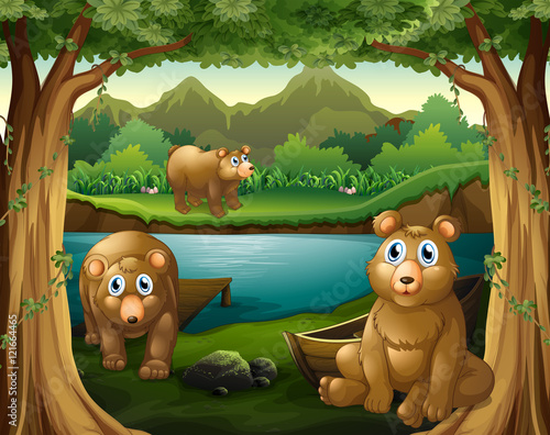 Wall Murals Bears Three bears living by the river
