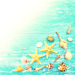 Seashells and starfish on a blue wooden background. Photo in vintage style
