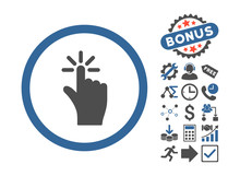 Click Pictograph With Bonus Pictogram. Vector Illustration Style Is Flat Iconic Bicolor Symbols, Cobalt And Gray Colors, White Background.