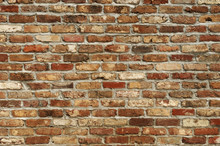 Facade View Of Old Brick Wall Background