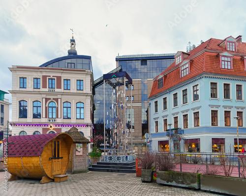 Staande foto Oost Europa Modern Christmas tree in old city of Riga