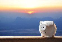 Piggy Bank On Nature Backgroun...
