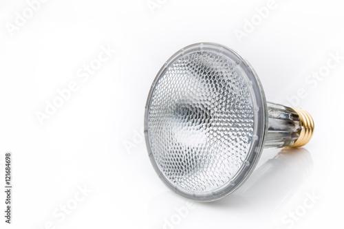 Obraz A halogen flood light bulb isolated on a white background. - fototapety do salonu
