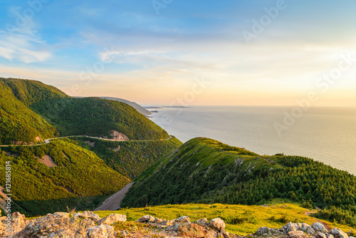Skyline Trail look-off at sunset (French Mountain, Cape Breton, Nova Scotia, Can Canvas Print