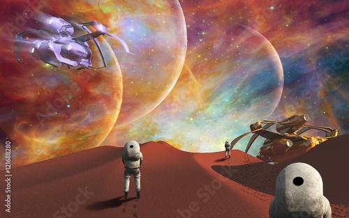 ksmonauci-podziwiajacy-piekne-widoki-z-nowej-planety