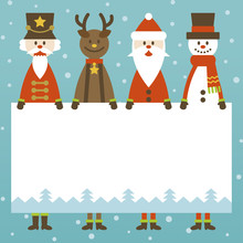 4 Christmas Characters And Message Card
