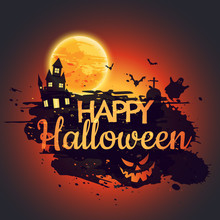 Happy Halloween Poster With Creepy Castle