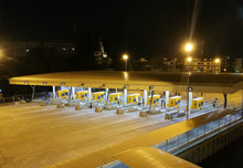 Highway Toll, Payment Gate Without Car At Night High Angle View
