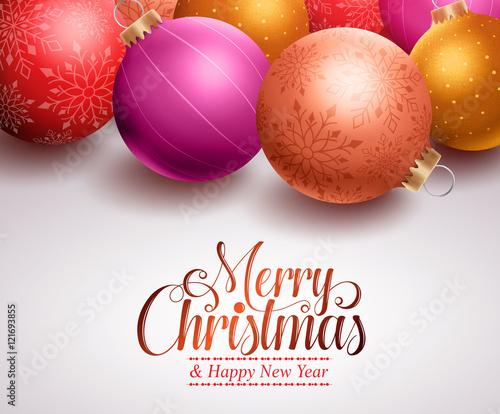 Colorful Christmas Background Design.Christmas Background Design With Colorful Christmas Balls