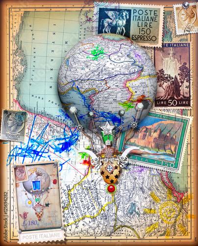 Door stickers Imagination Voli e viaggi fantastici,avventure con mongolfiera,collage con vecchie mappe e francobolli vintage