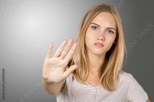 Fotografie, Tablou  Blonde girl irritated and stressed