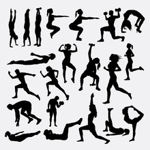 Healthy Sport Training Silhouette. Good Use For Symbol, Logo, Web Icon, Mascot, Sticker, Or Any Design You Want.