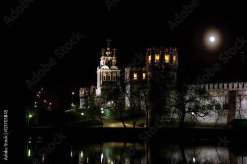 Poster Novodevichy convent in Moscow at night