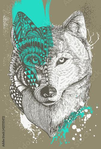 zentangle-stylizowany-wilk-z-splatters-farby-recznie-rysowane-ilustracji